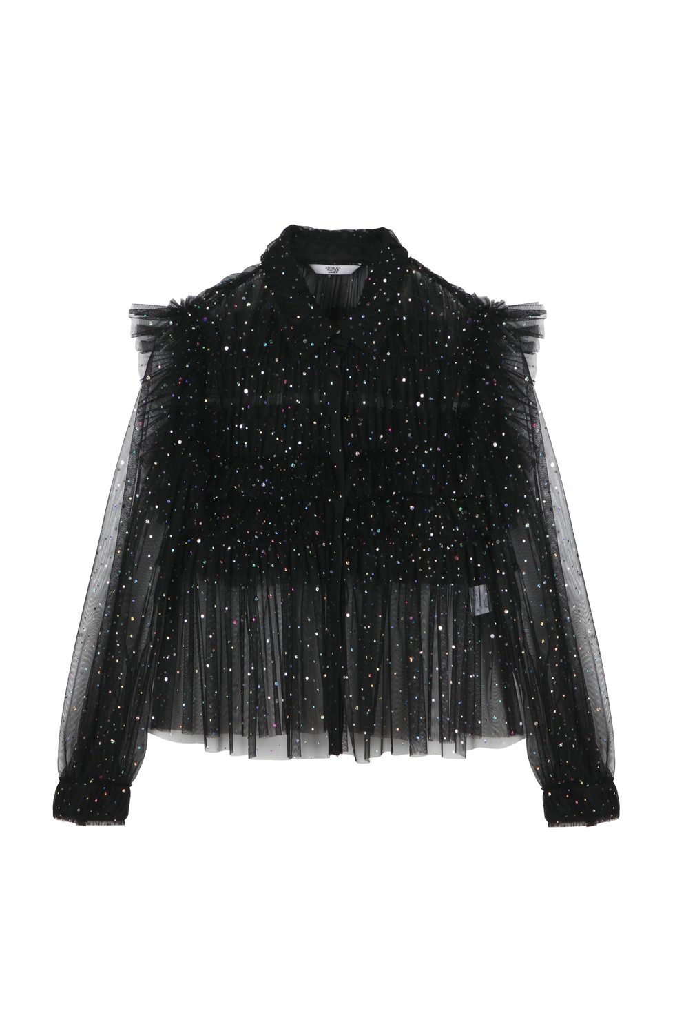 GLITTERED RUFFLE BLOUSE - BLACK