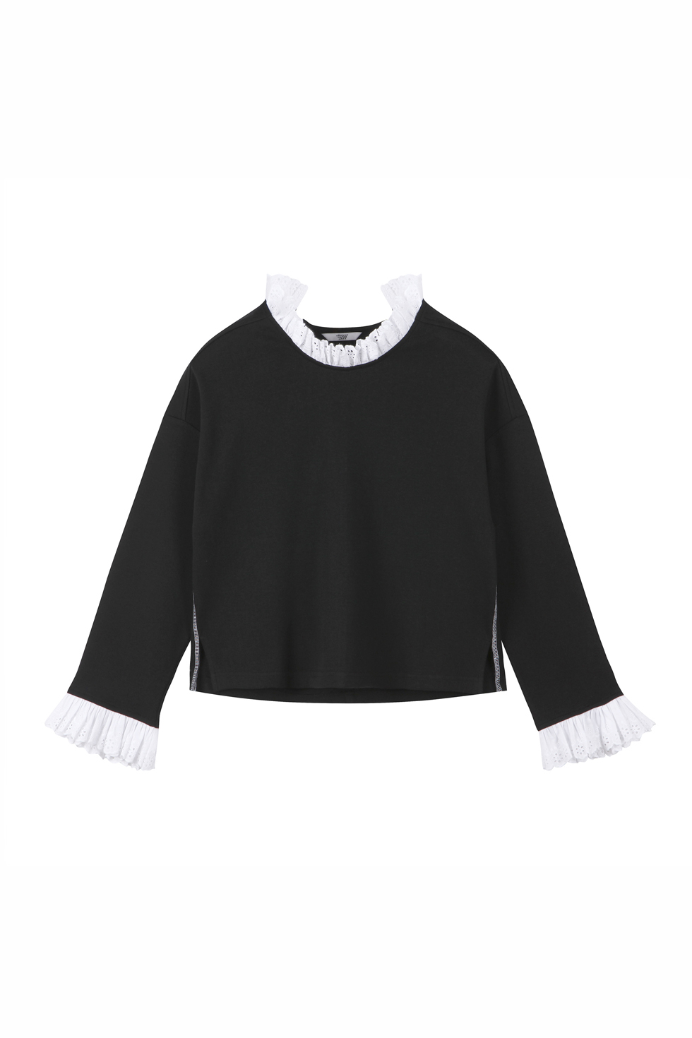 OVERSIZED RUFFLE TOP - BLACK