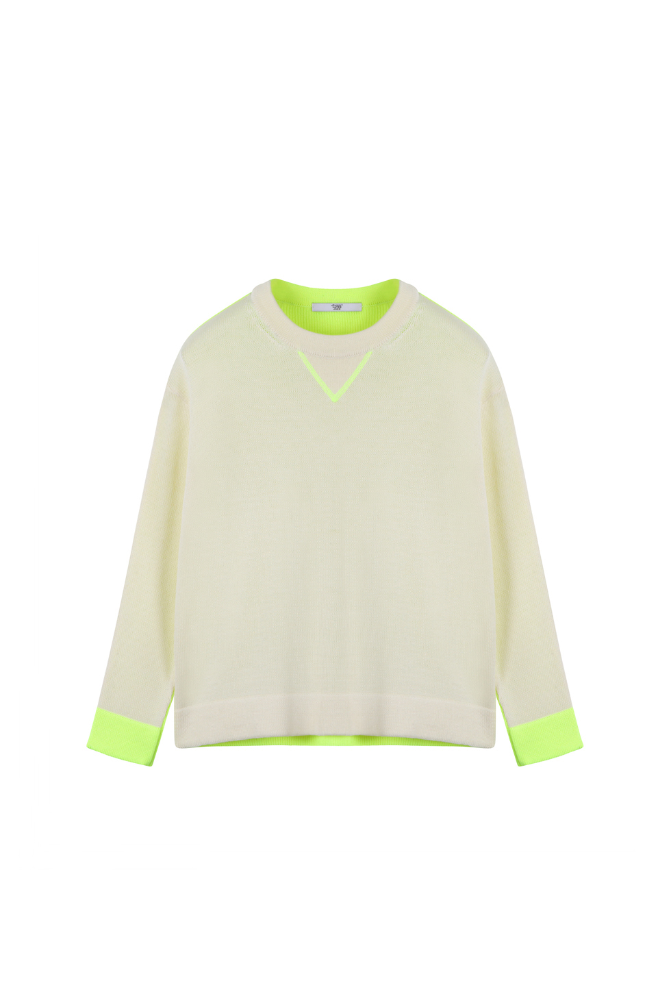 CONTRASTING CROP KNIT - IVORY