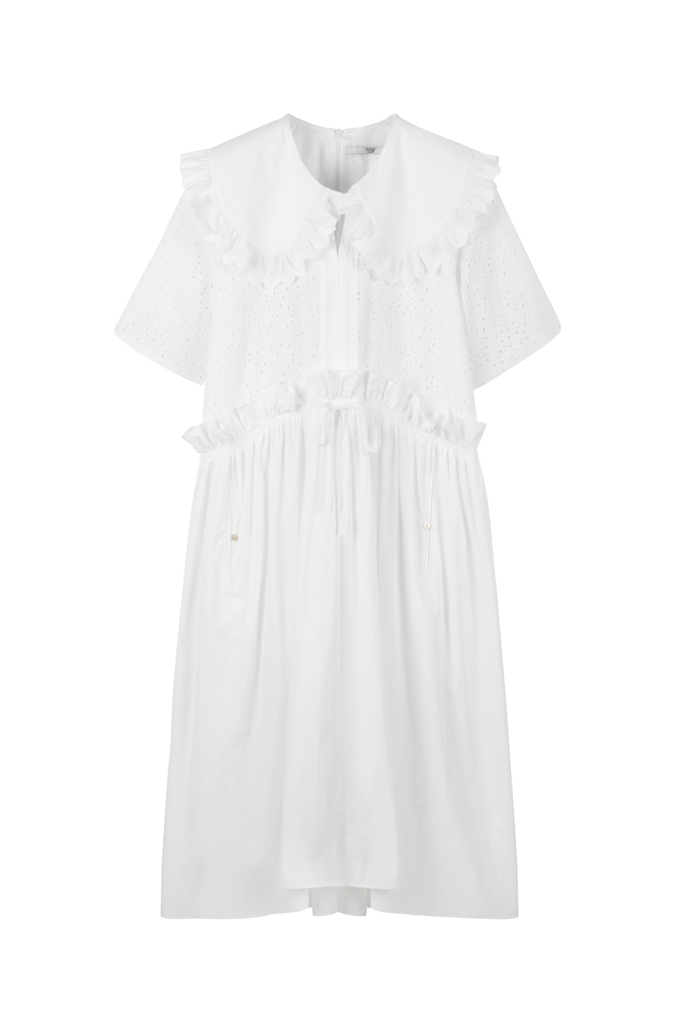 OVERSIZED BRODERIE DRESS - WHITE