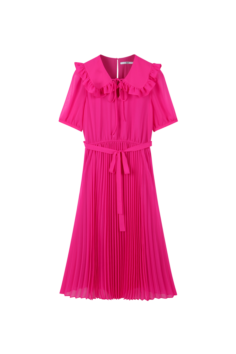 RUFFLE PLEATS DRESS - PINK