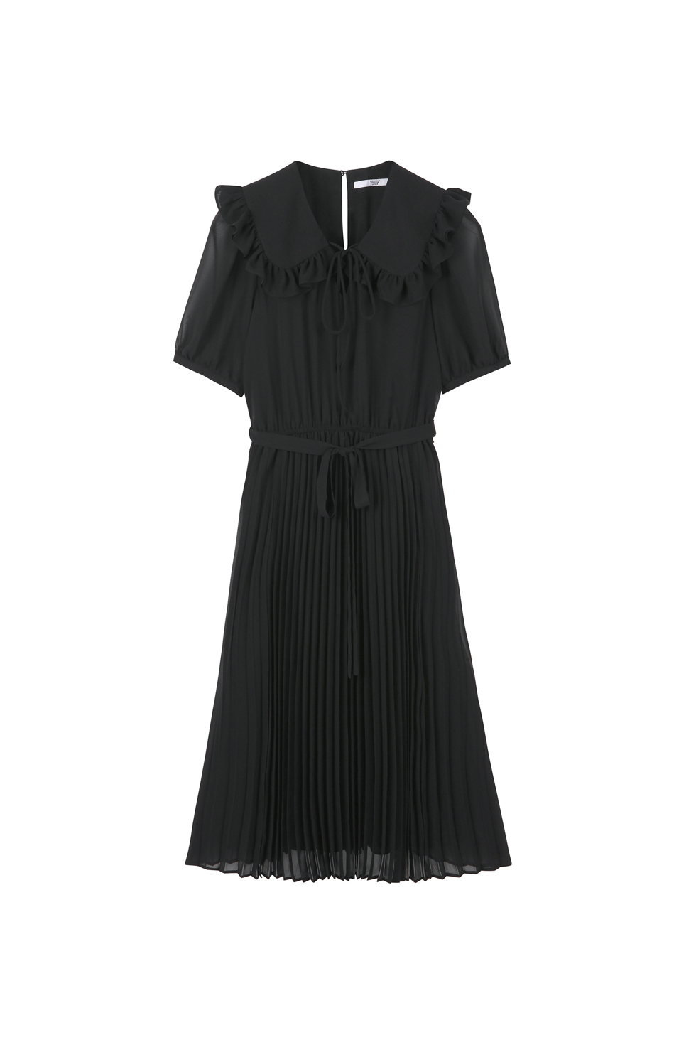 RUFFLE PLEATS DRESS - BLACK
