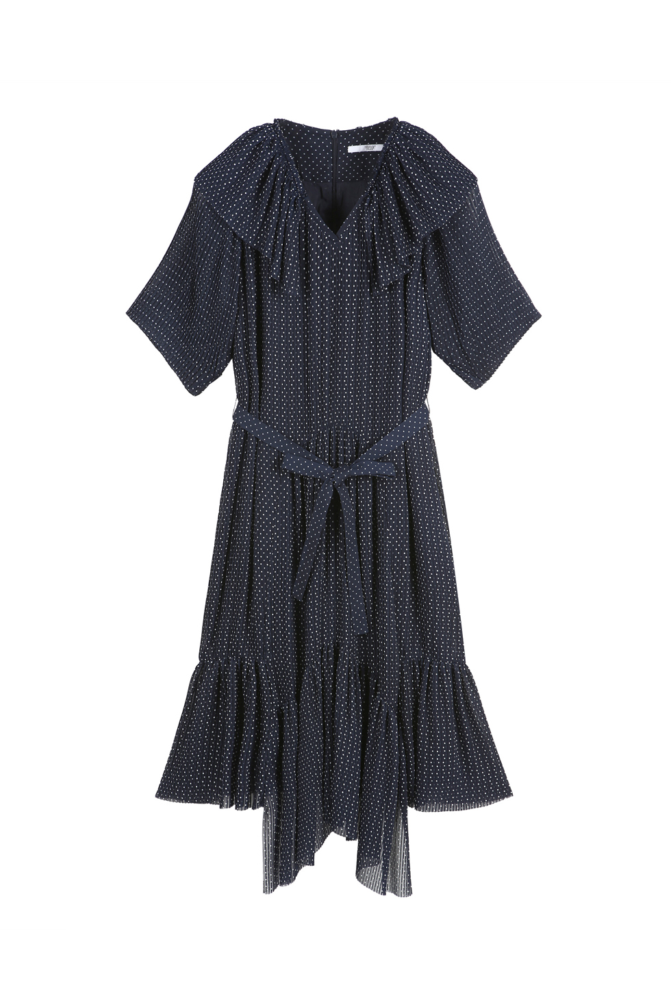 UNBALANCED PLEATS DRESS - NAVY