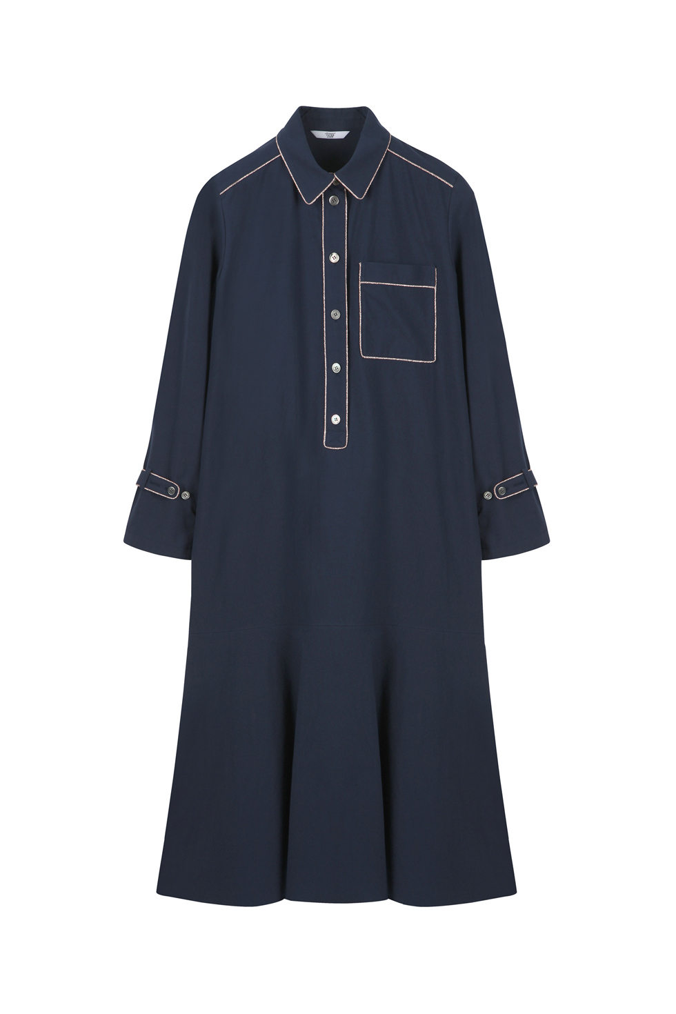 LONG PYJAMA DRESS - NAVY