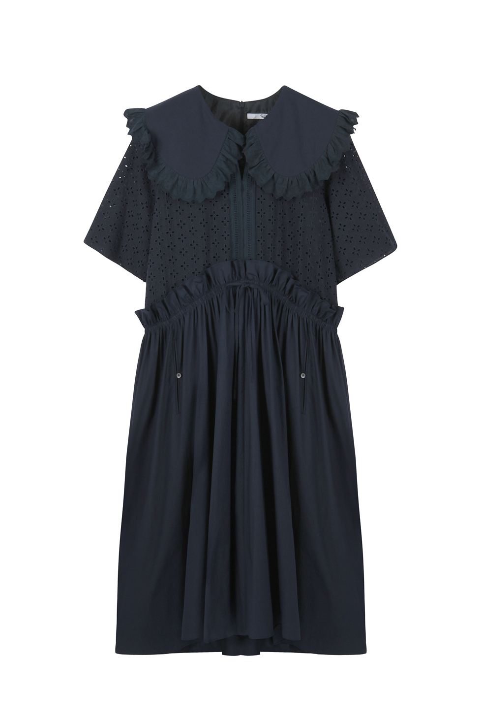 OVERSIZED BRODERIE DRESS - NAVY