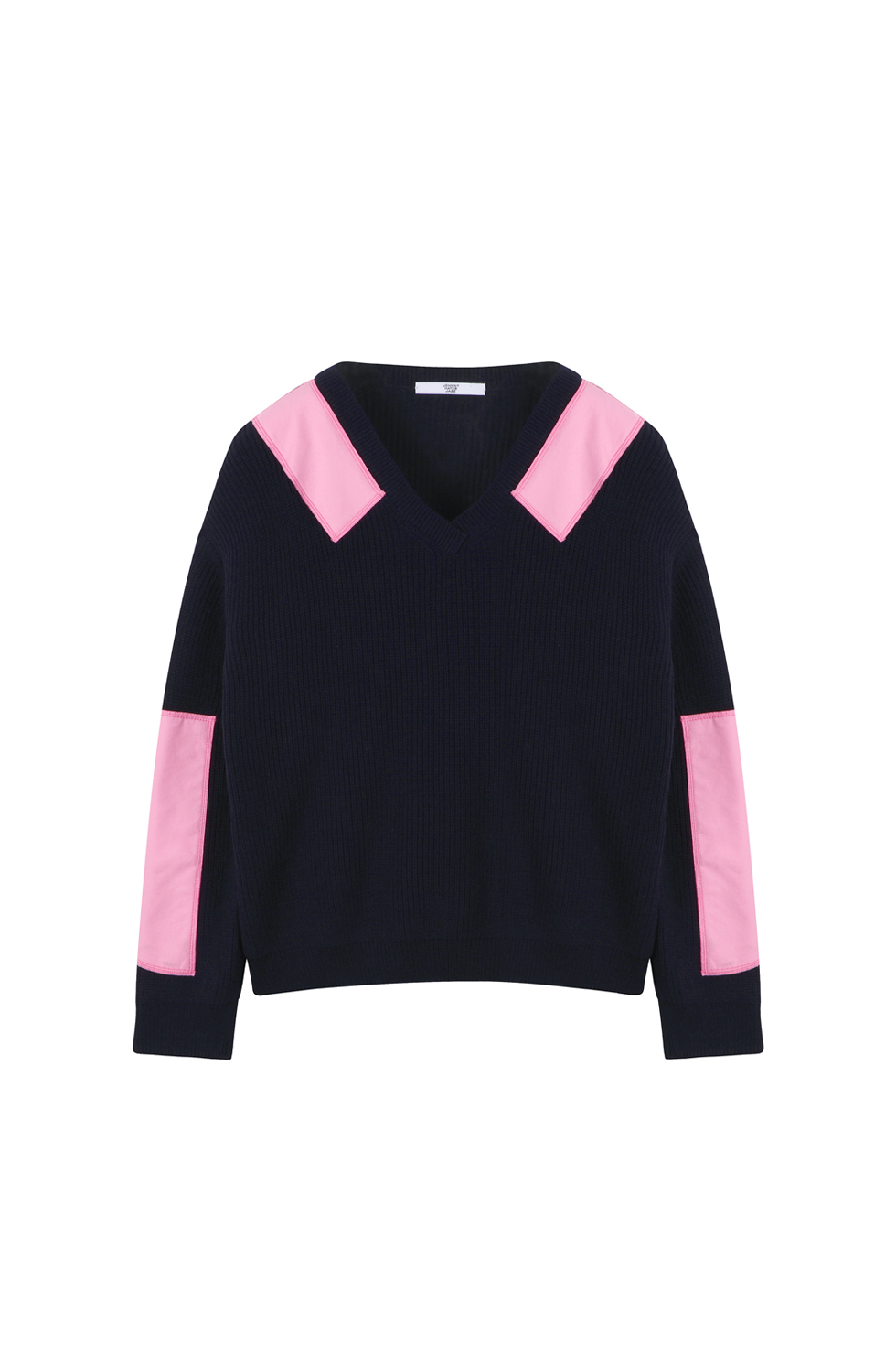 COTTON PATCH PULLOVER KNIT - NAVY