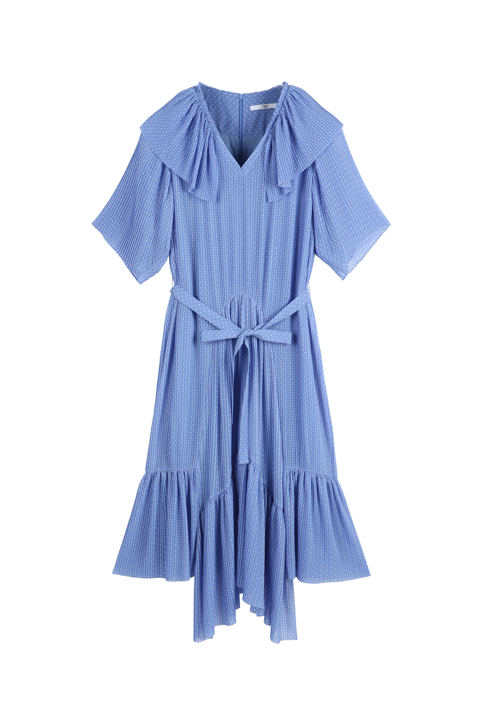 UNBALANCED PLEATS DRESS - BLUE