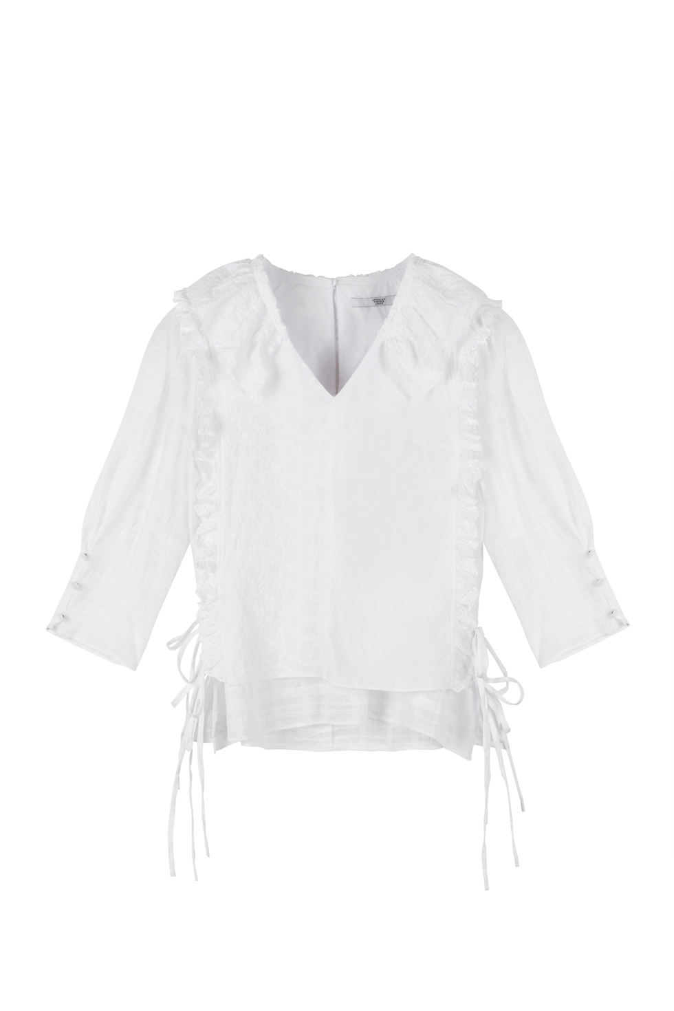 SQUARED RUFFLE BLOUSE - WHITE