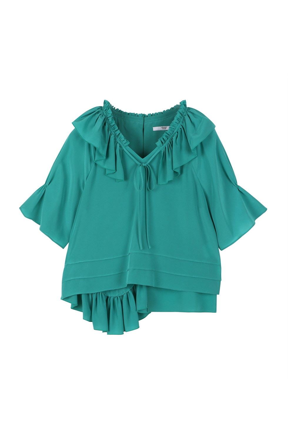 SILK RUFFLE BLOUSE - GREEN