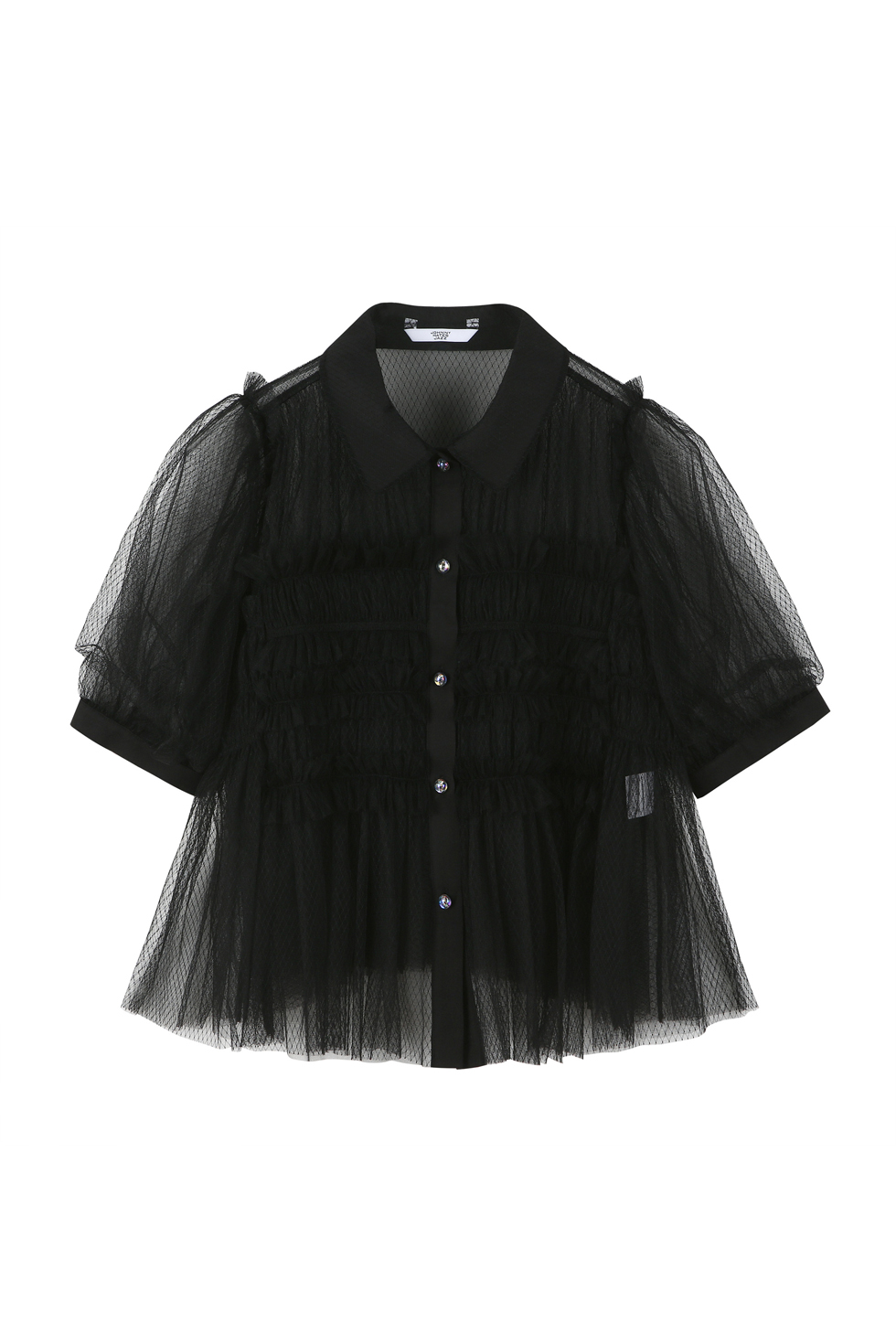 TULLED RUFFLE BLOUSE - BLACK
