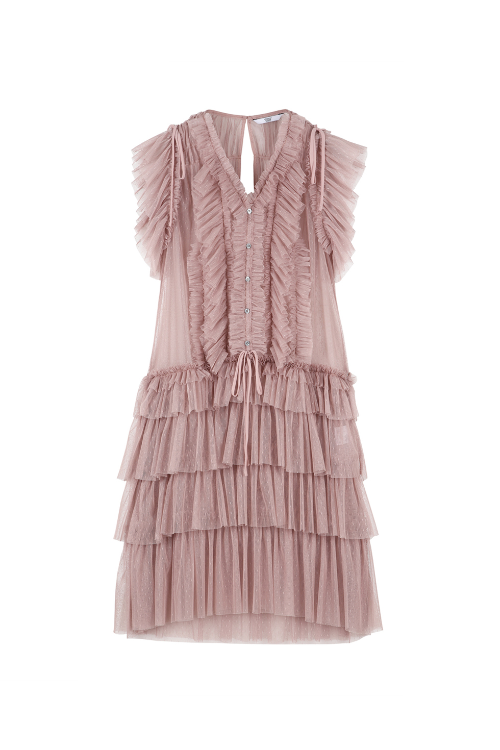 TULLED RUFFLE DRESS - PINK