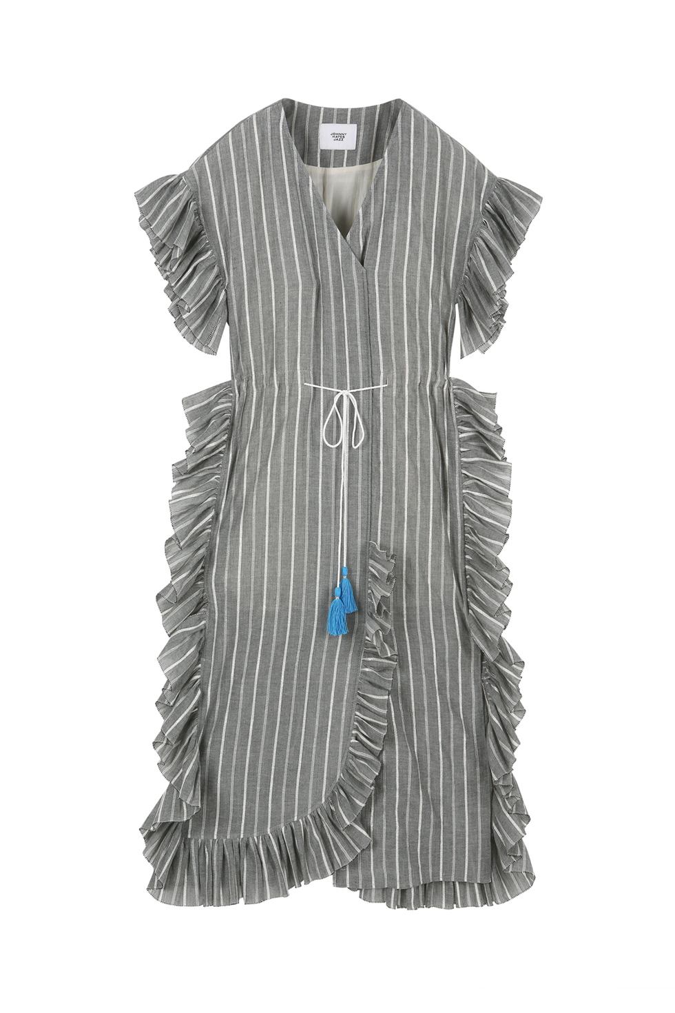 OVERSIZED RUFFLE DRESS - GREY