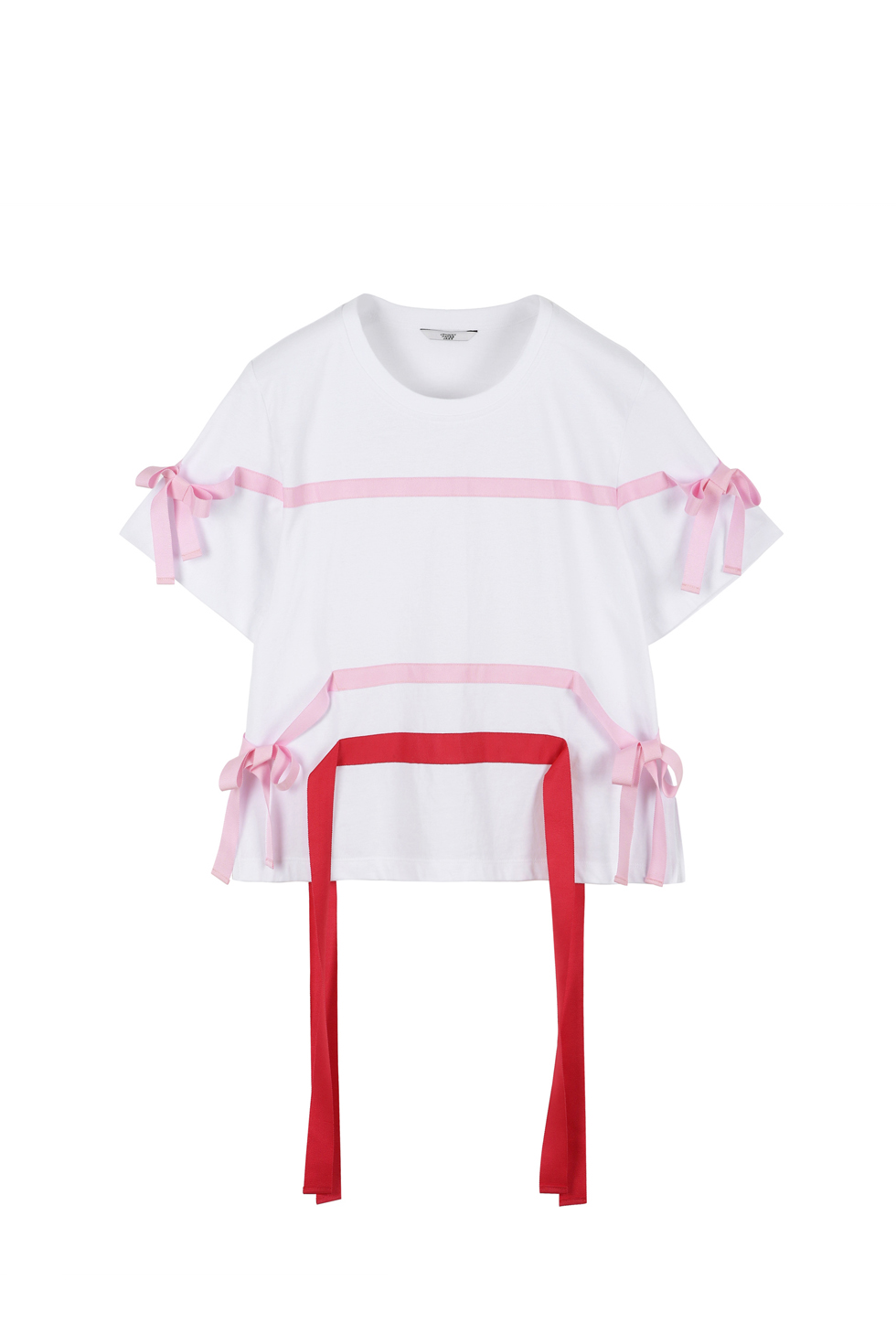 RIBBON TAPE T-SHIRTS - WHITE