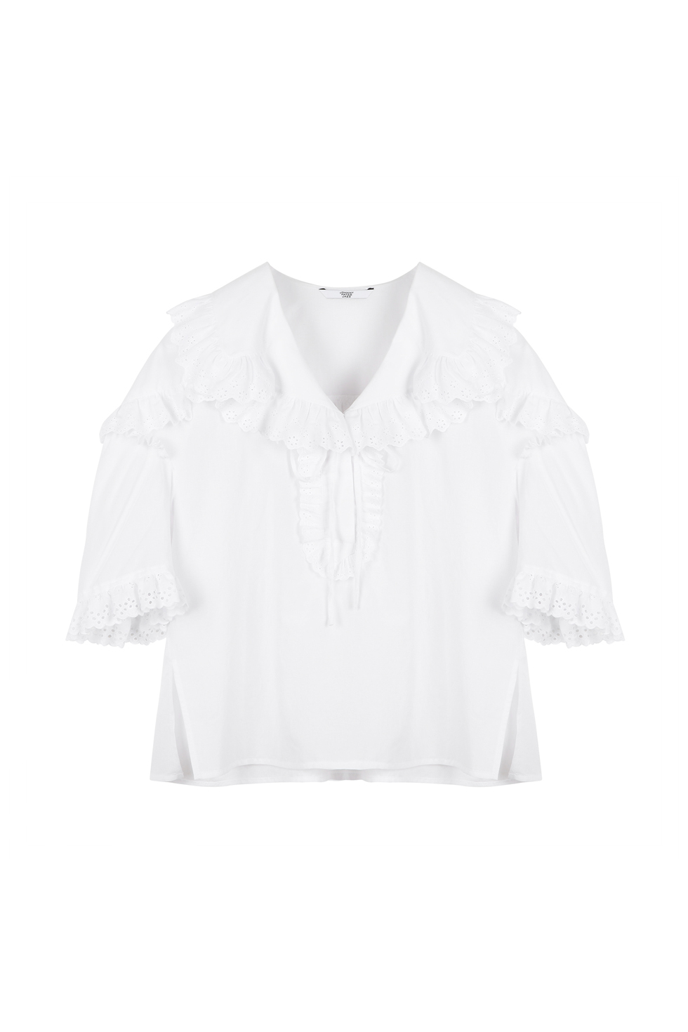 BROIDERY RUFFLE BLOUSE - WHITE