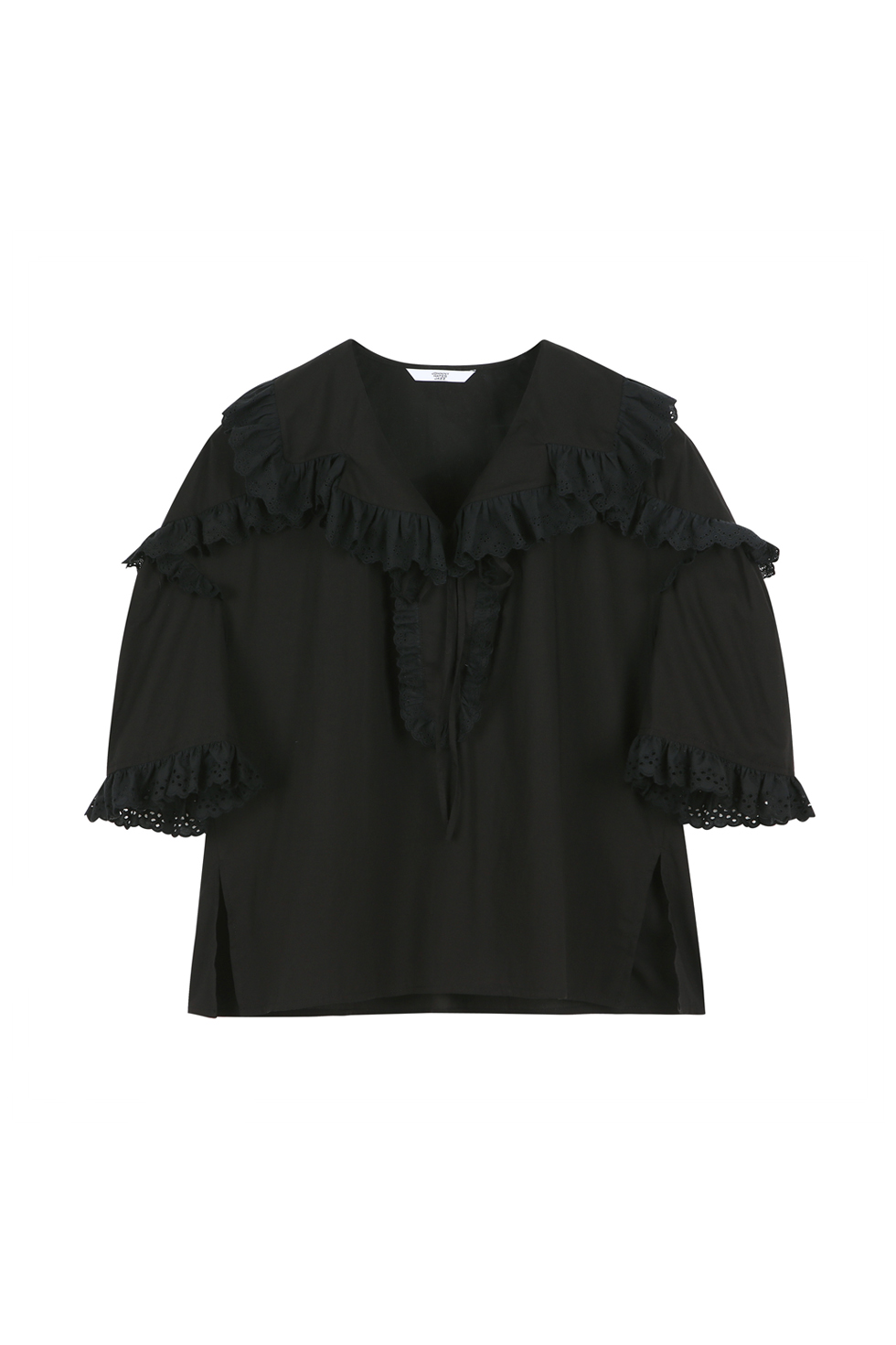 BROIDERY RUFFLE BLOUSE - BLACK