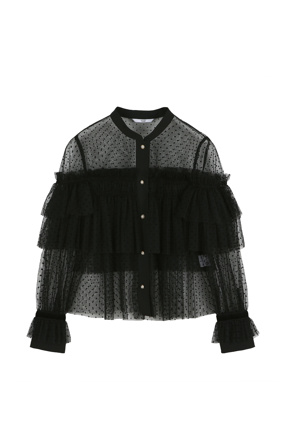 VELVET DOT TULLE BLOUSE - BLACK