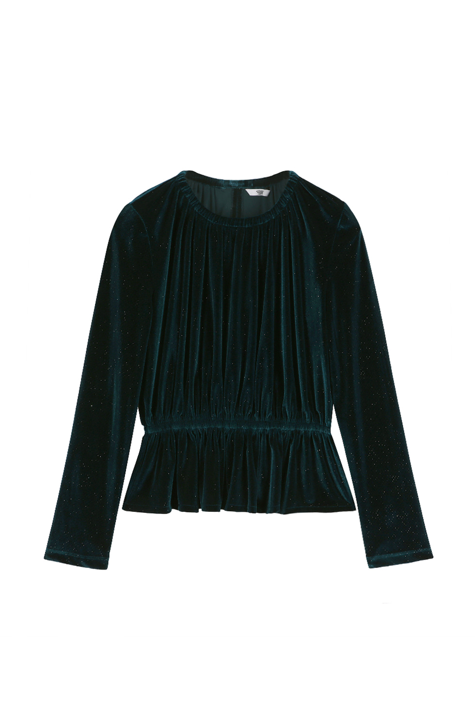 GLITTERED VELVET TOP -GREEN