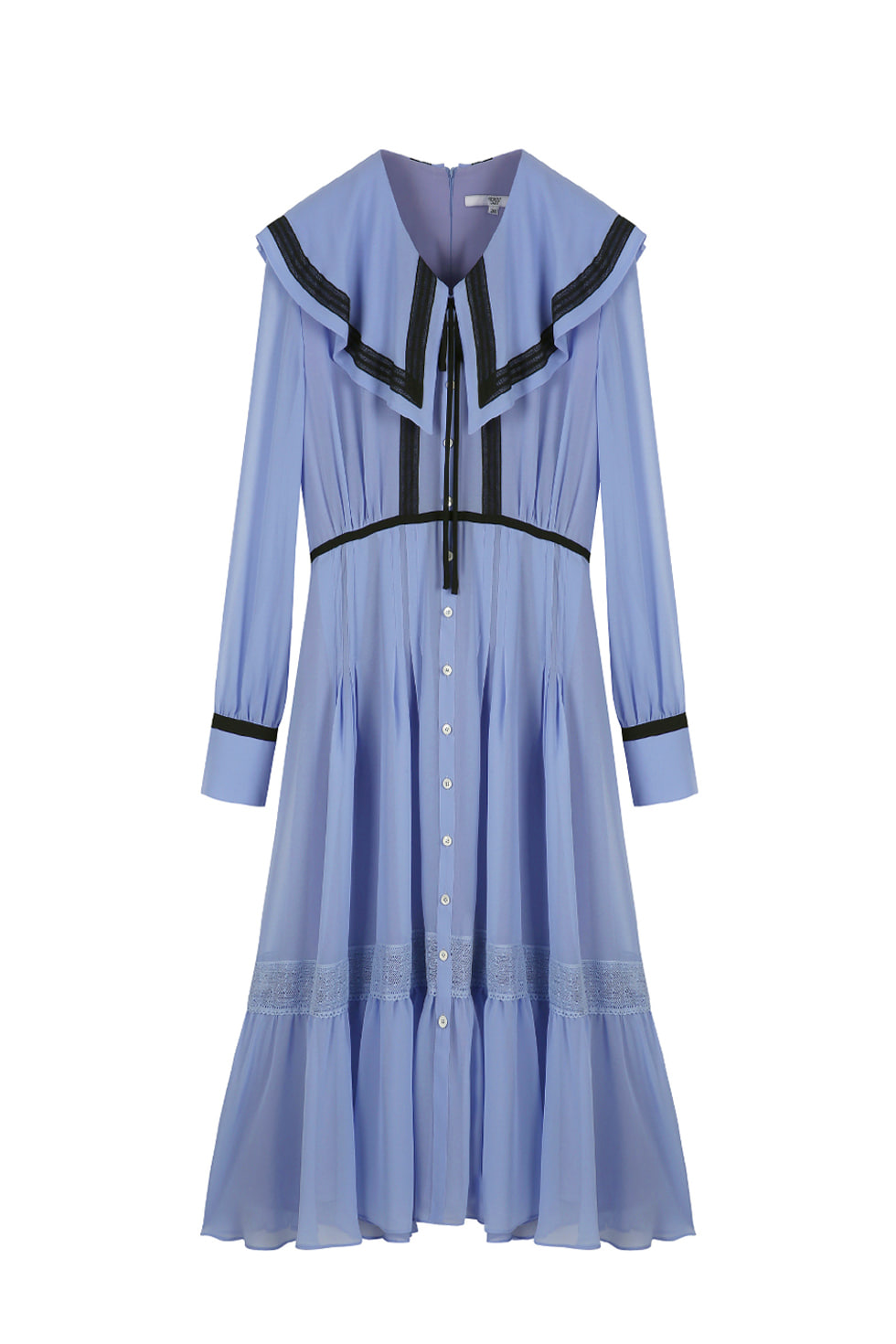 CHIFFON CAPE DRESS - BLUE