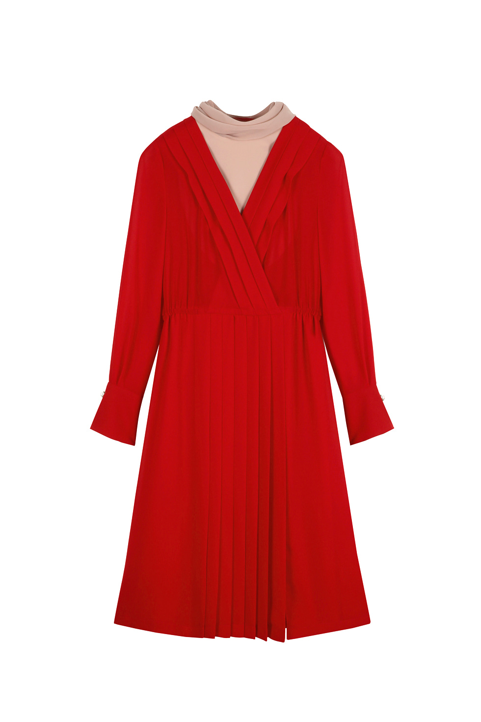 SCARF PLEATS DRESS - RED