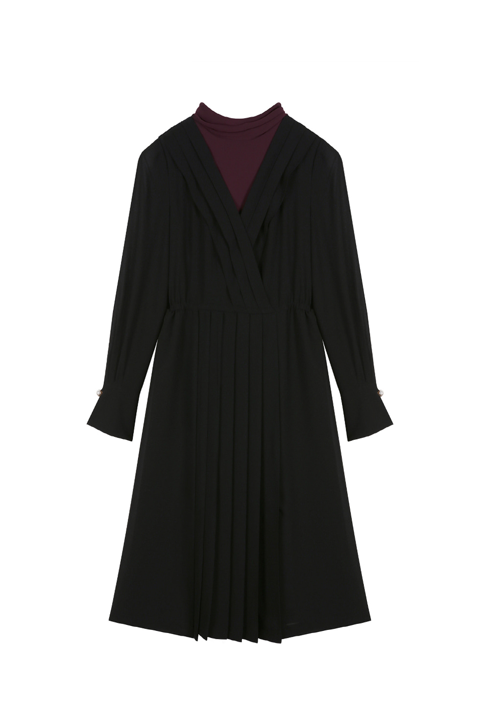 SCARF PLEATS DRESS - BLACK