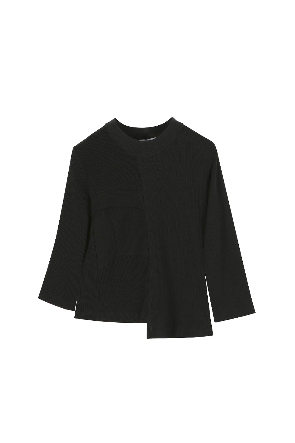 UNBALANCED JERSEY TOP - BLACK
