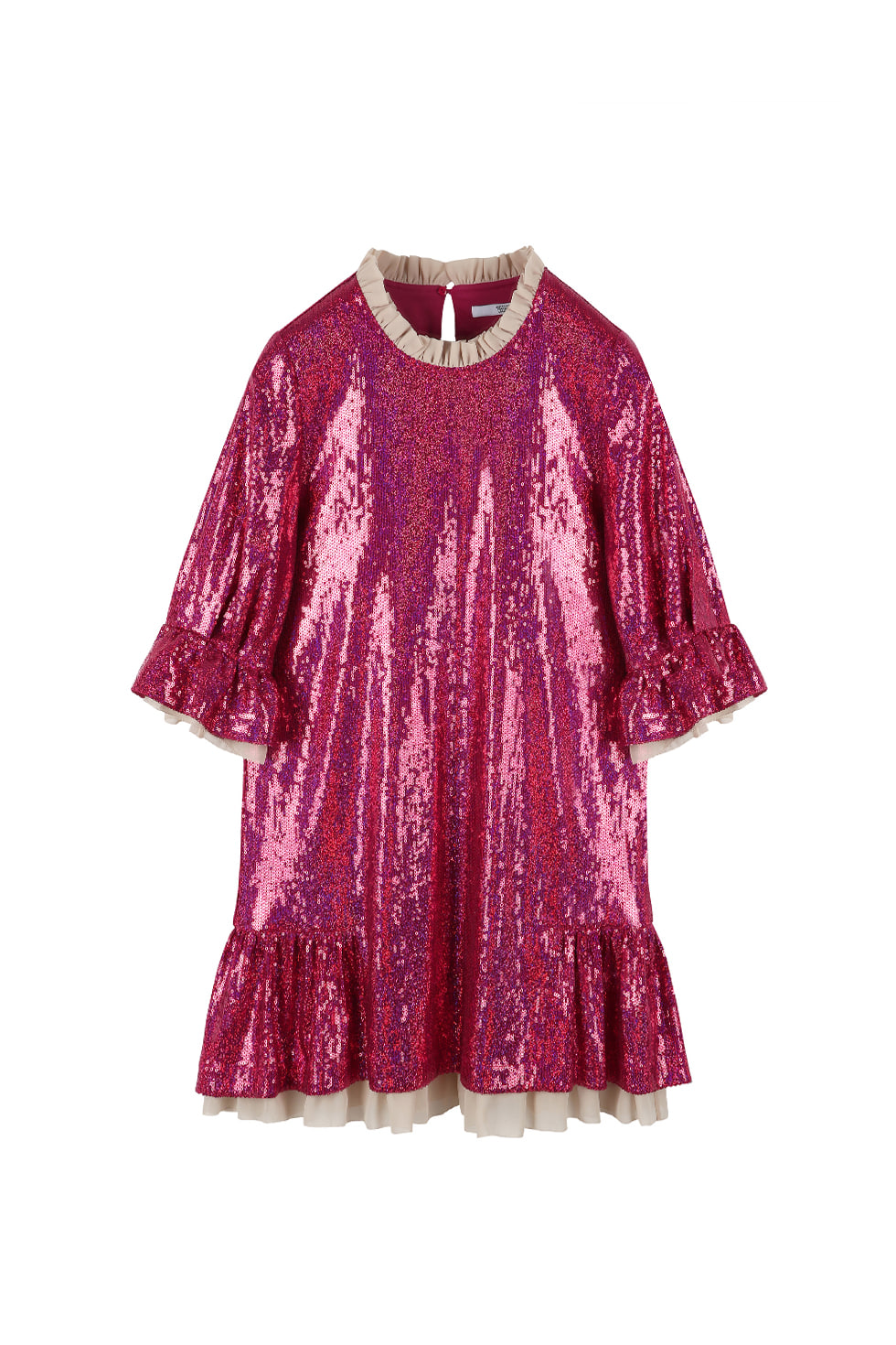 SEQUINED RUFFLE MINI DRESS - PINK