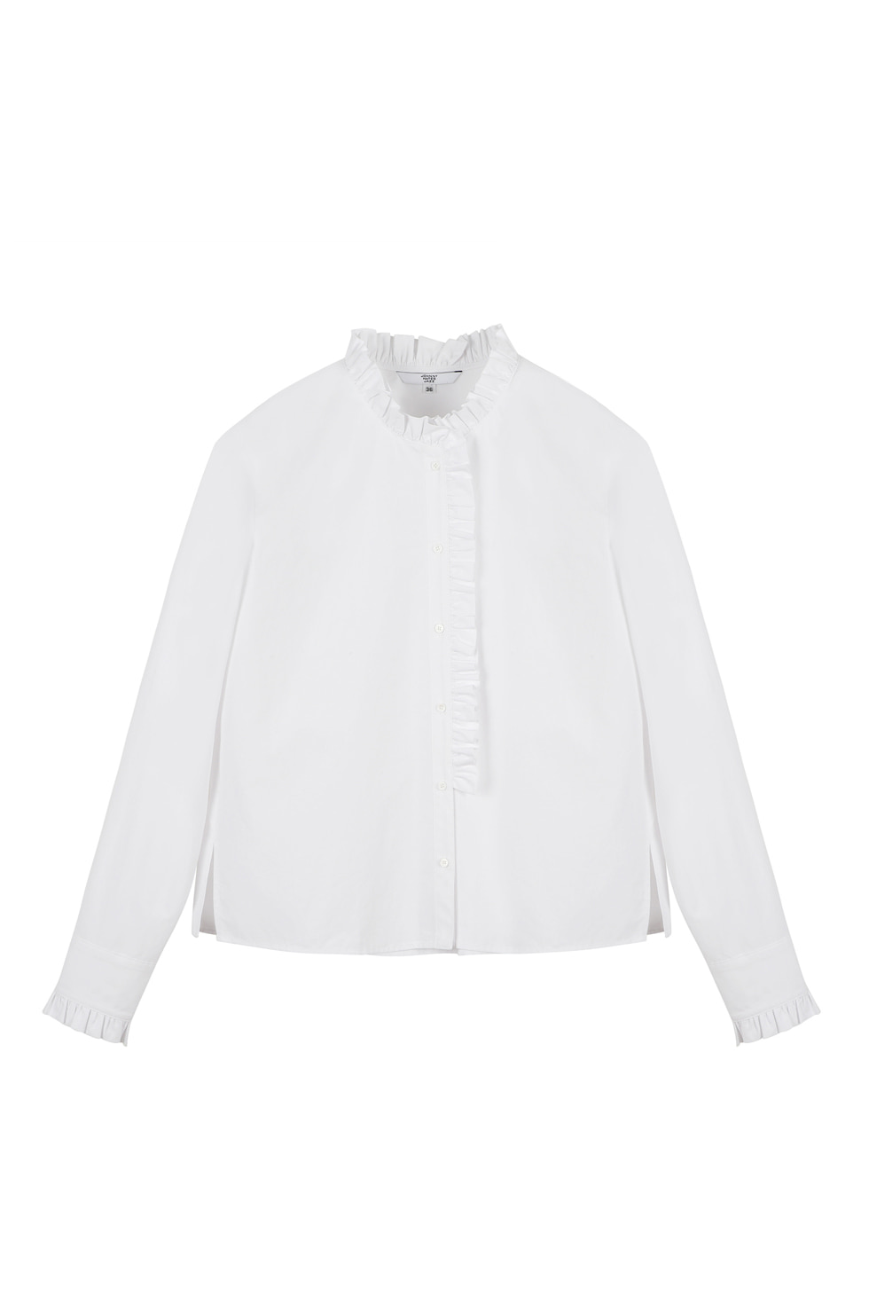 COTTON RUFFLE BLOUSE - WHITE