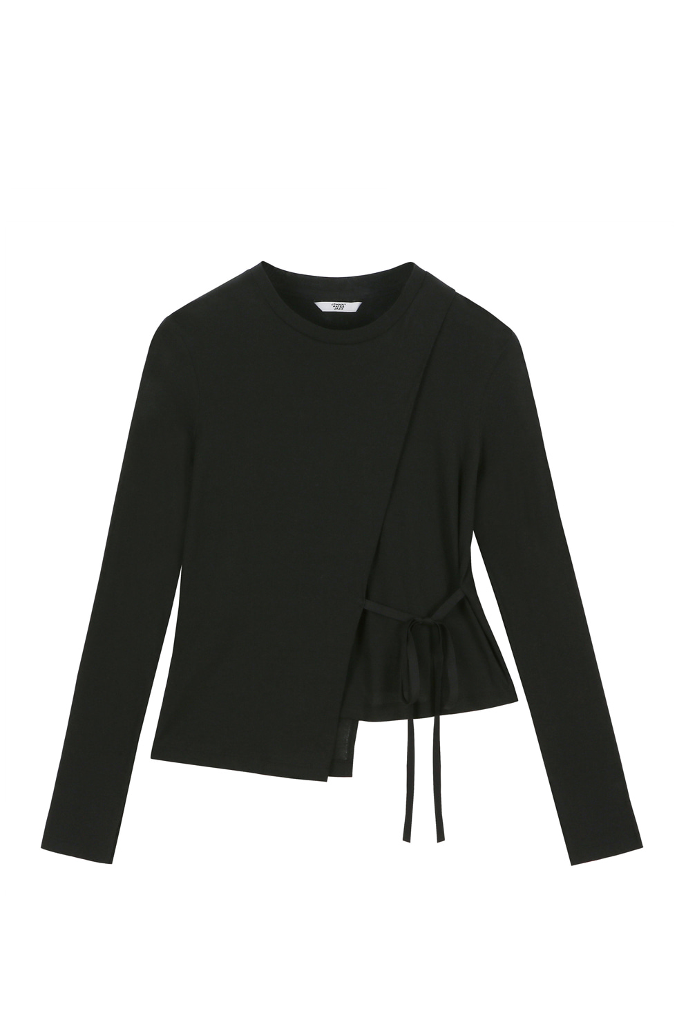 WRAP JERSEY LONG SLEEVES - BLACK