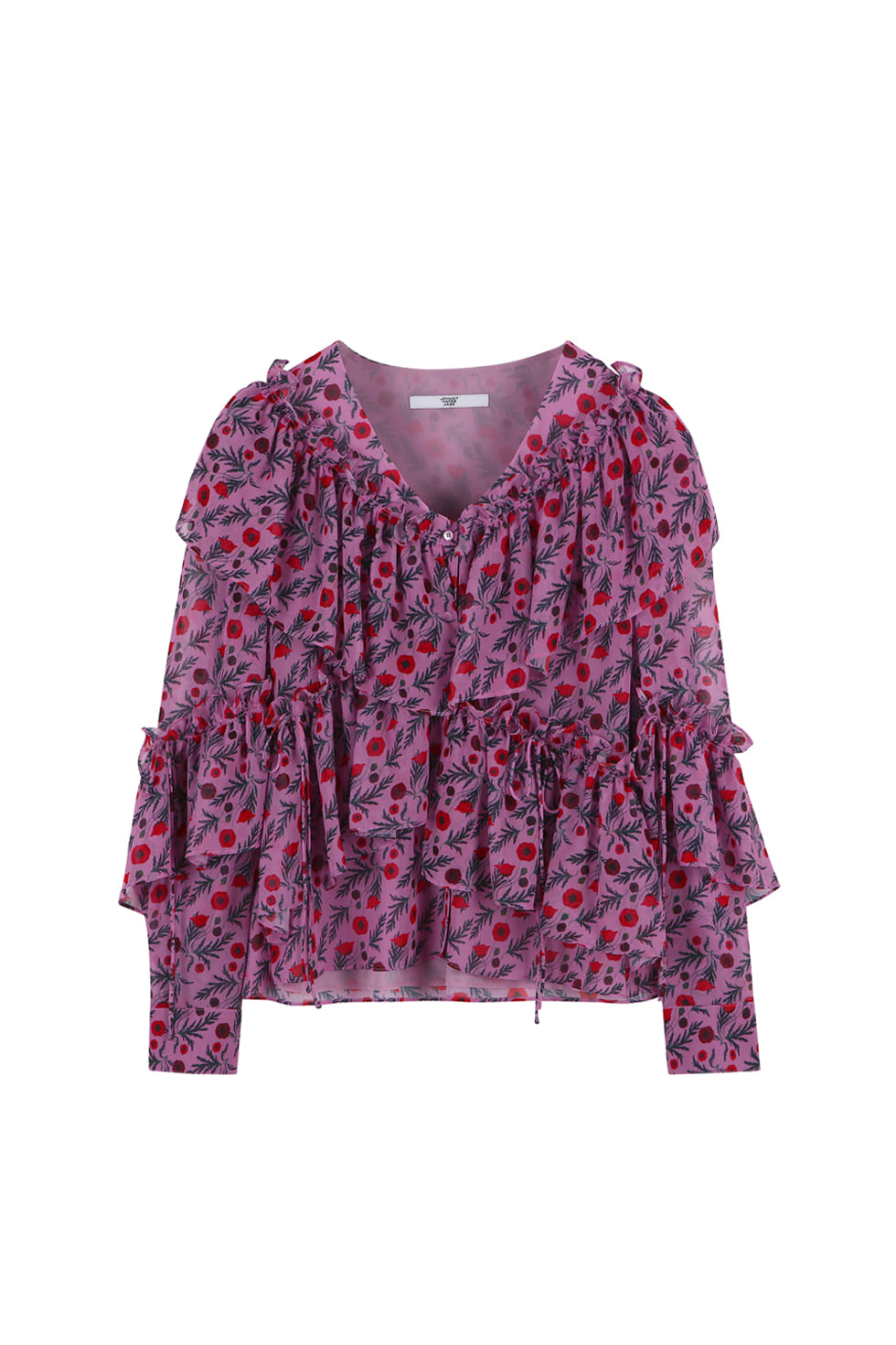FLORAL RUFFLE BLOUSE - PINK