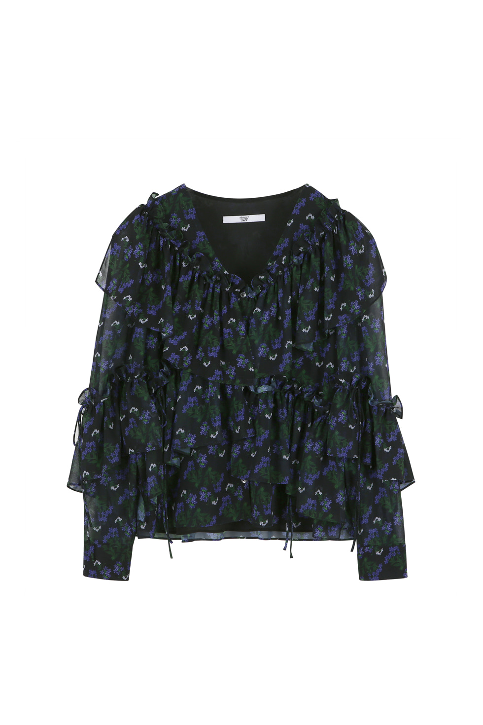 FLORAL RUFFLE BLOUSE - BLACK