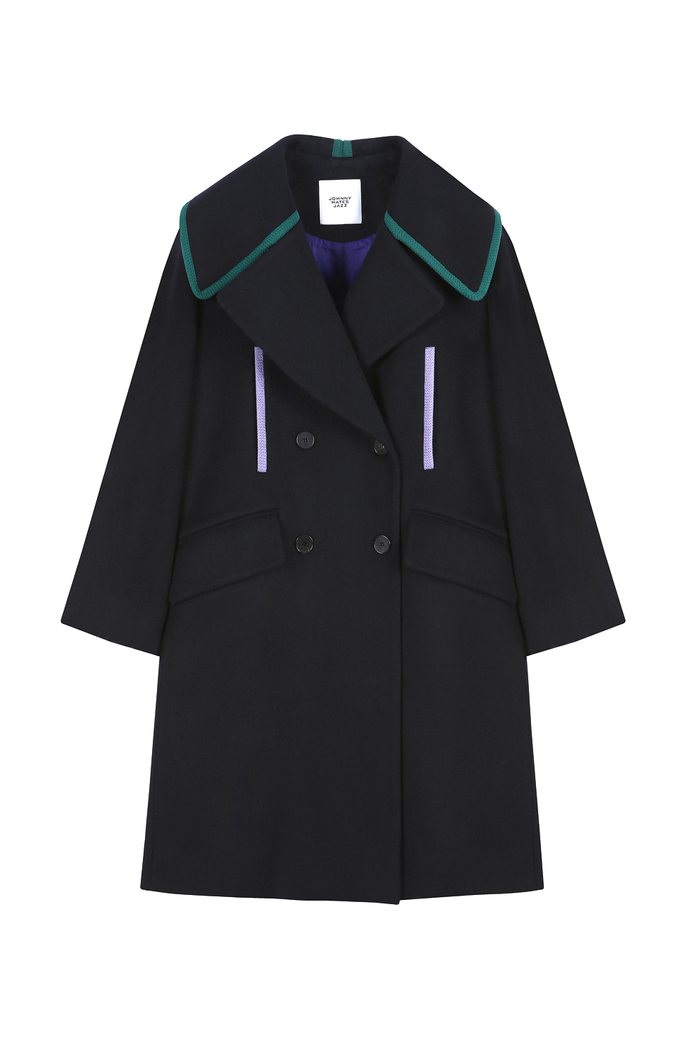 BIG COLLAR BINDING COAT - NAVY
