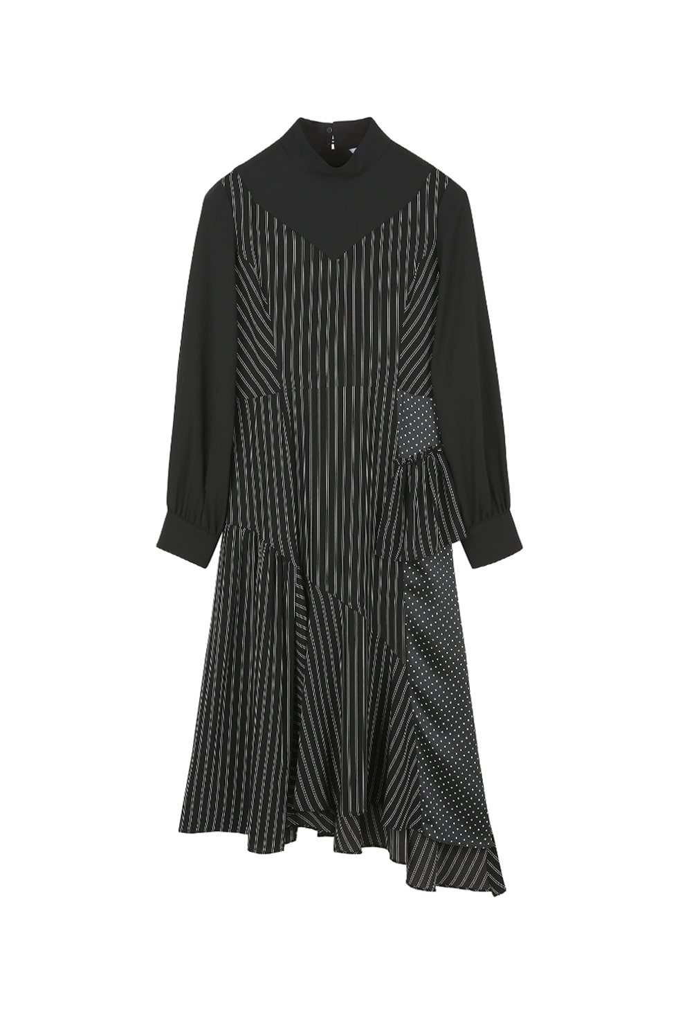 DOUBLE LAYERED STRIPE DRESS- BLACK