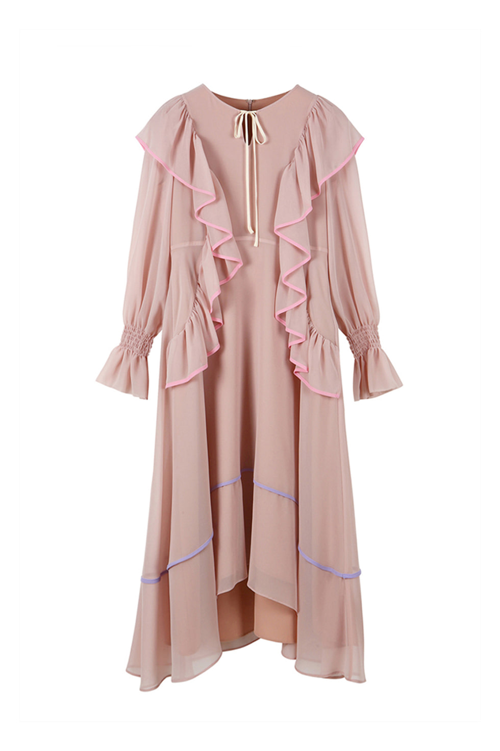 BINDING RUFFLE DRESS - PINK
