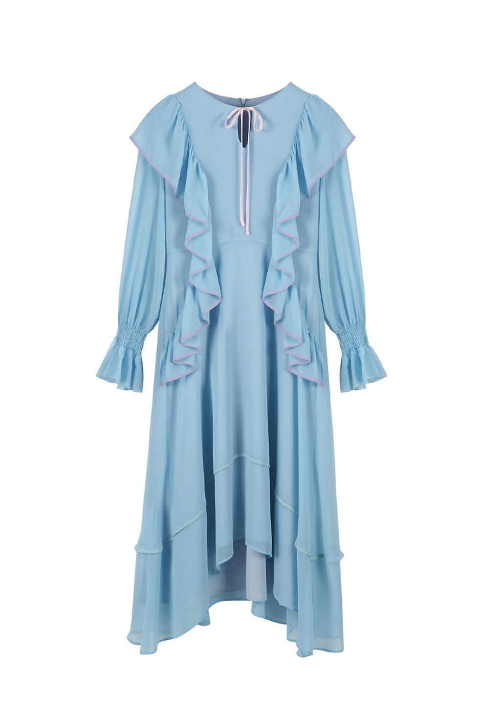 BINDING RUFFLE DRESS - BLUE