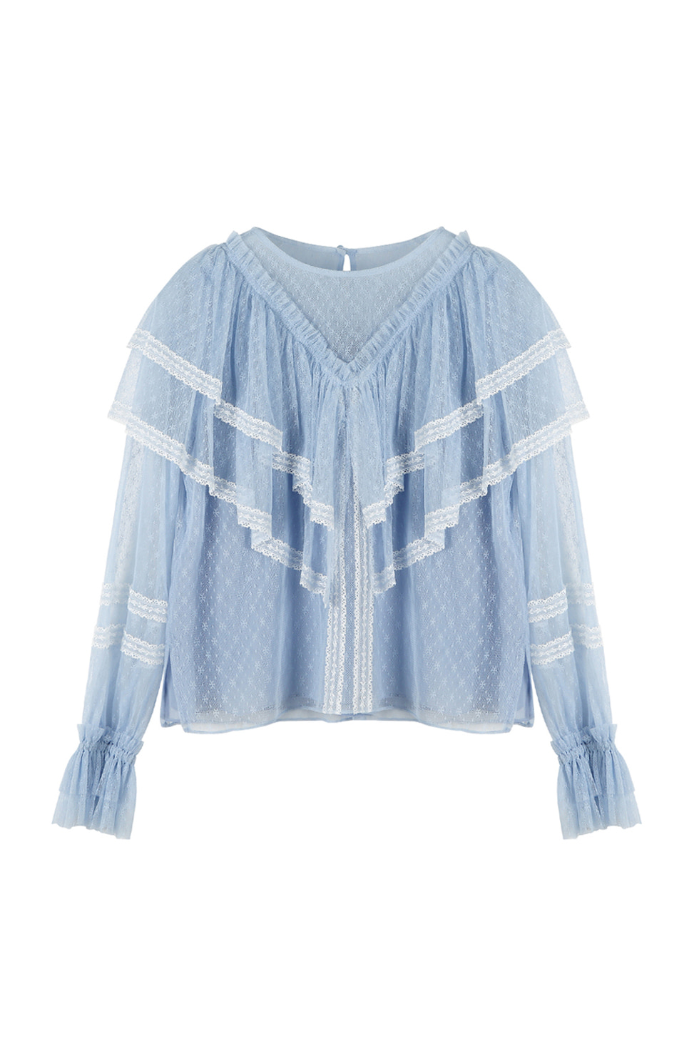 LACE RUFFLE BLOUSE - BLUE