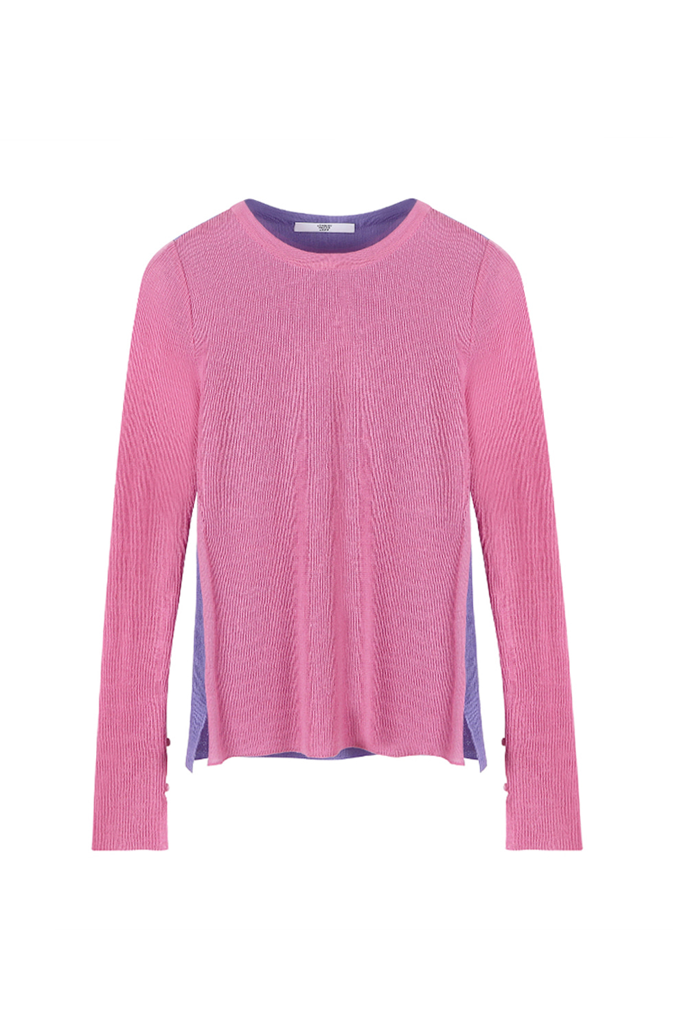 TWO-TONE KNIT PULLOVER - PINK