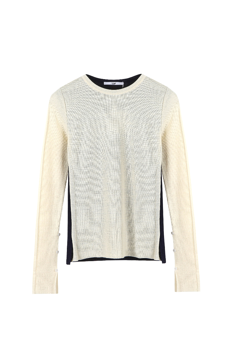 TWO-TONE KNIT PULLOVER - IVORY