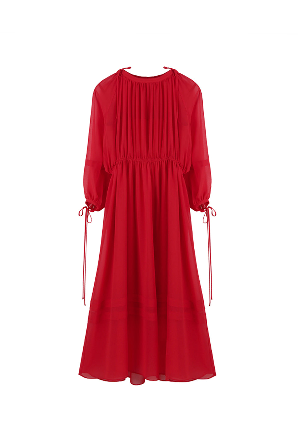 CHIFFON LONG DRESS - RED