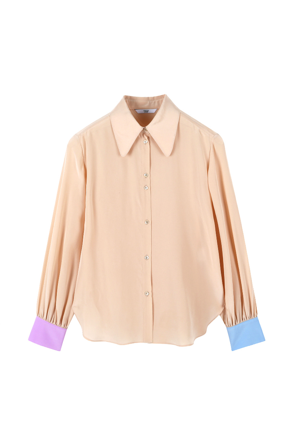 COLOR BLOCK SILK BLOUSE - BEIGE