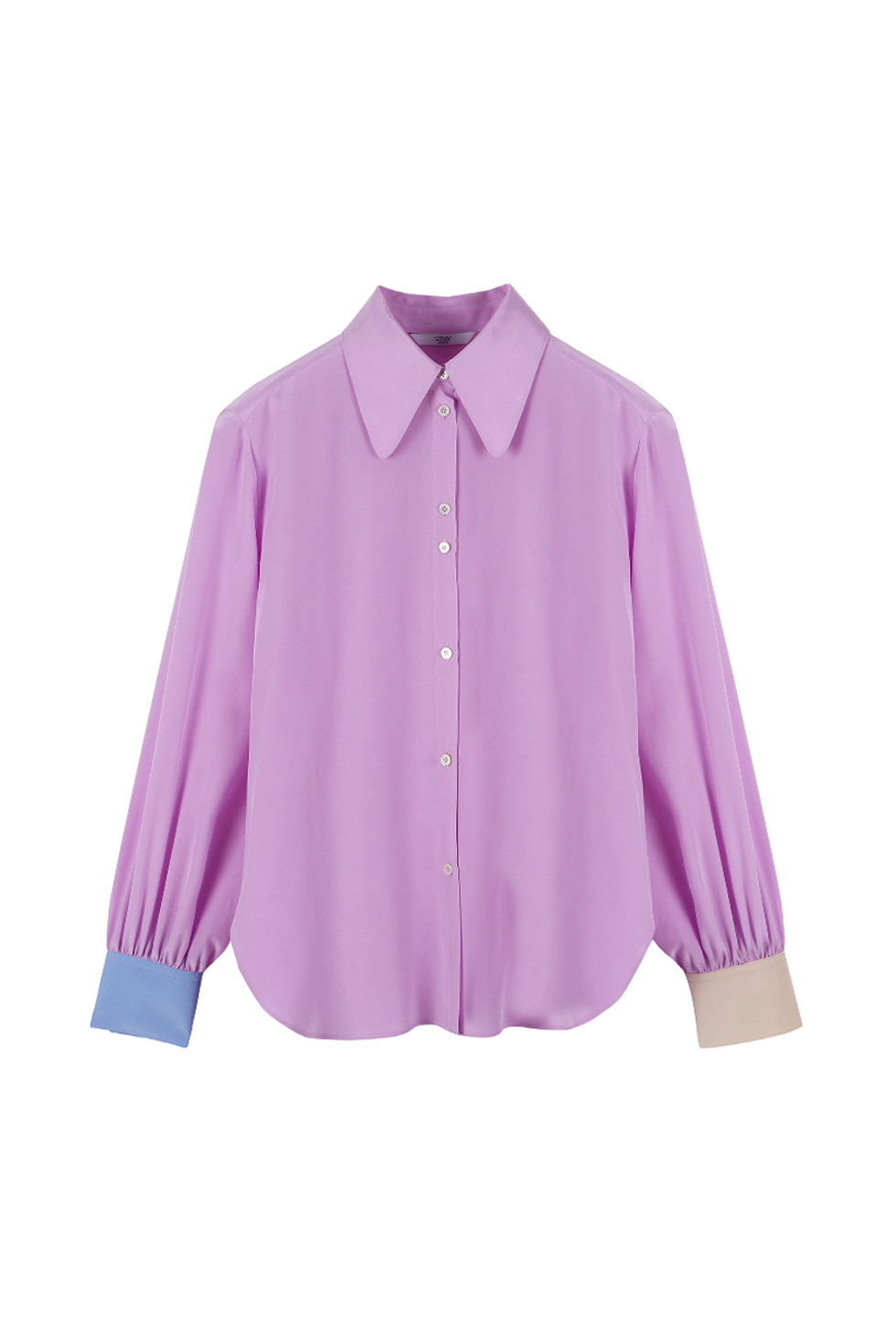 COLOR BLOCK SILK BLOUSE - PURPLE