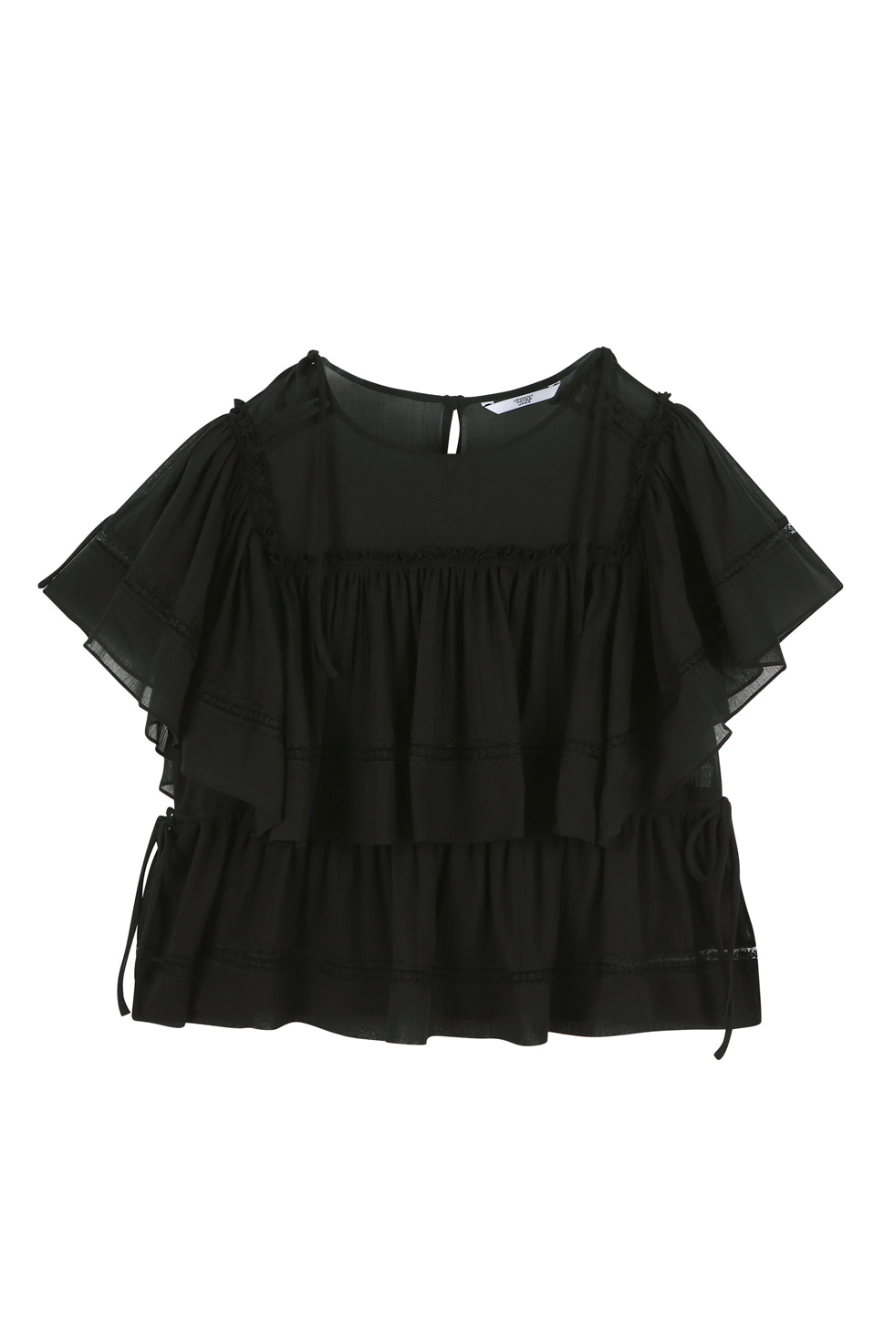 COTTON LACE BLOUSE - BLACK