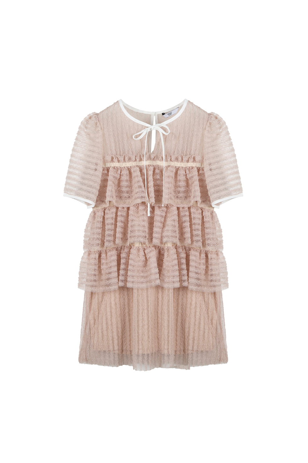 TULLED MINI DRESS - BEIGE