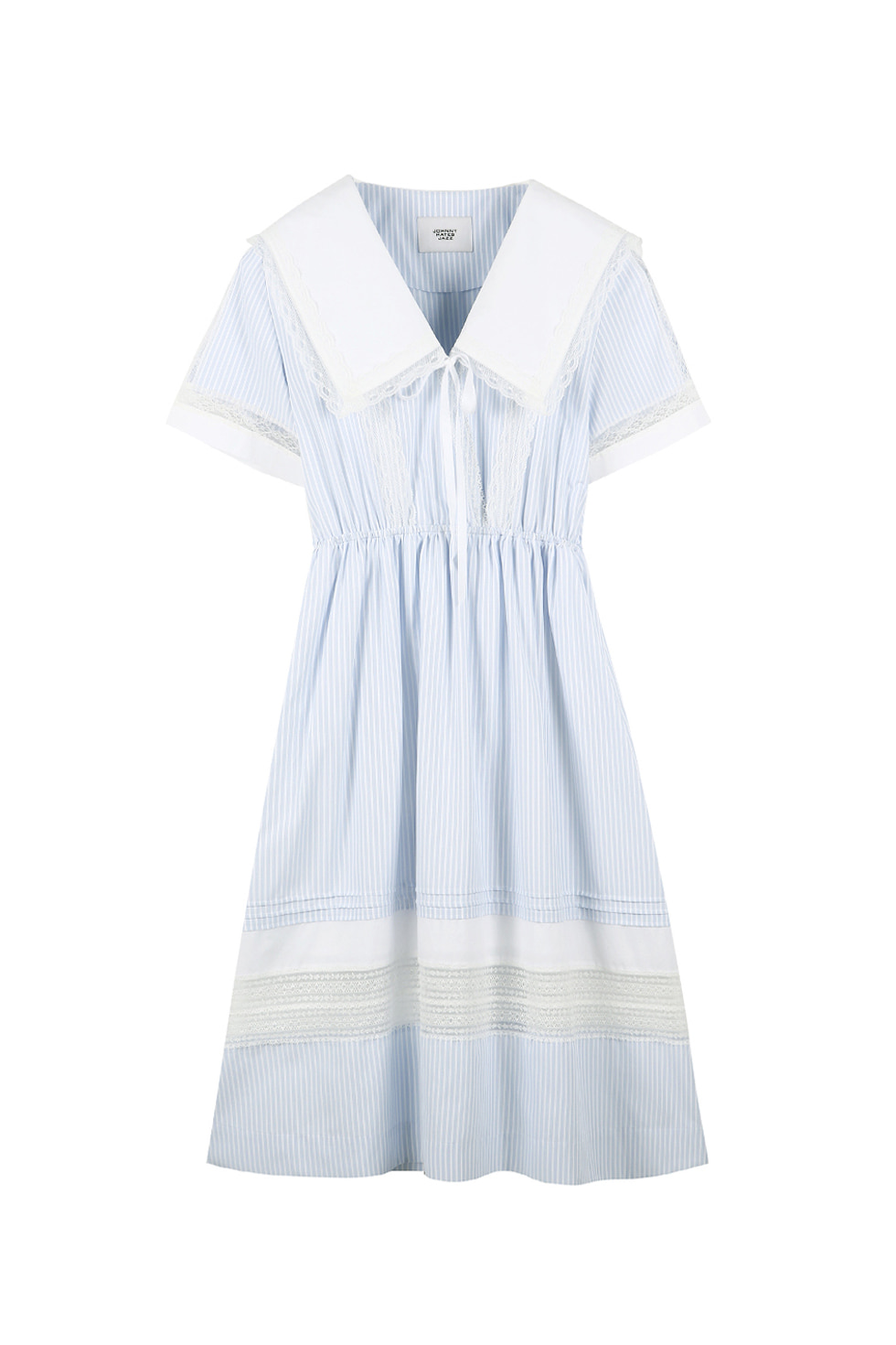 BIG COLLAR COTTON DRESS - BLUE