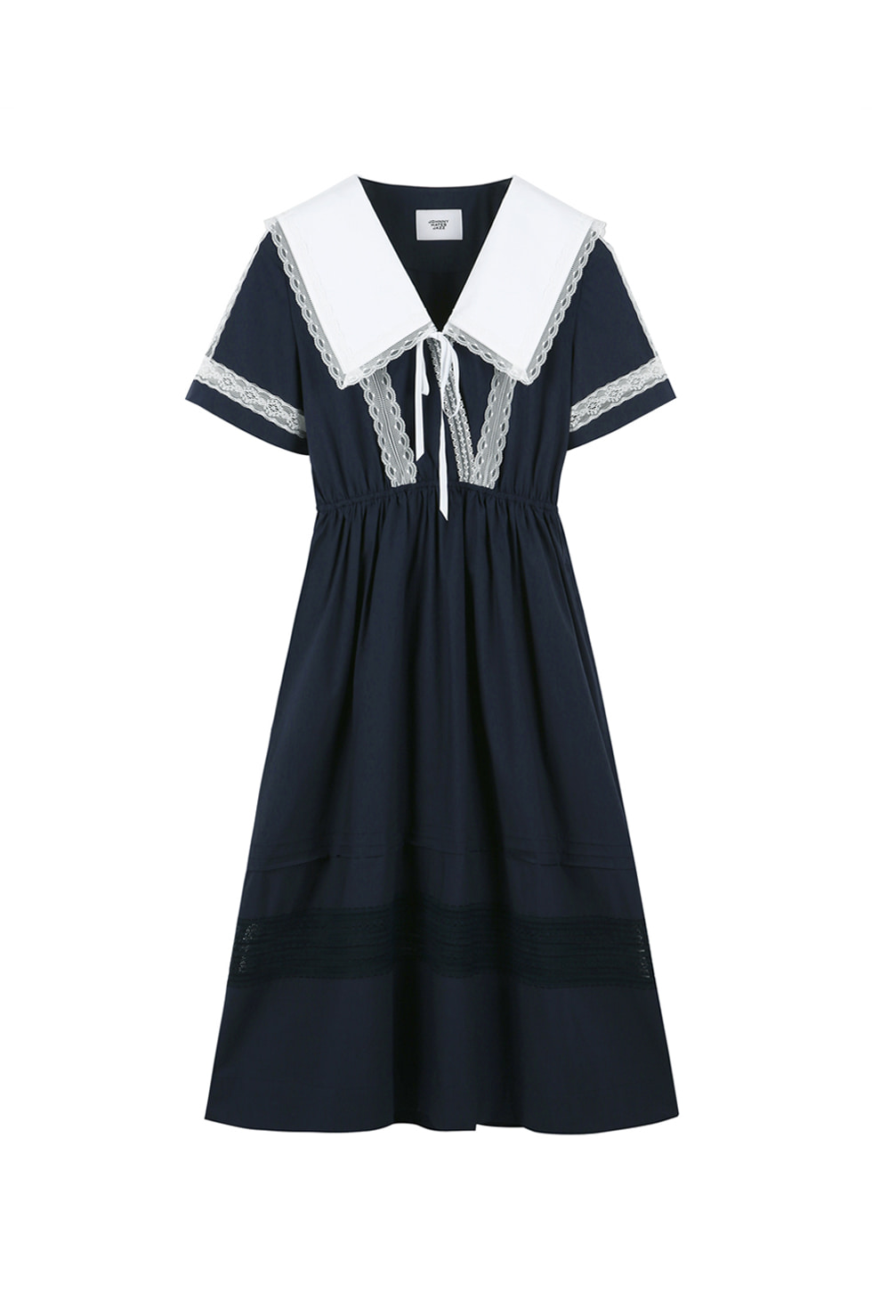 BIG COLLAR COTTON DRESS - NAVY