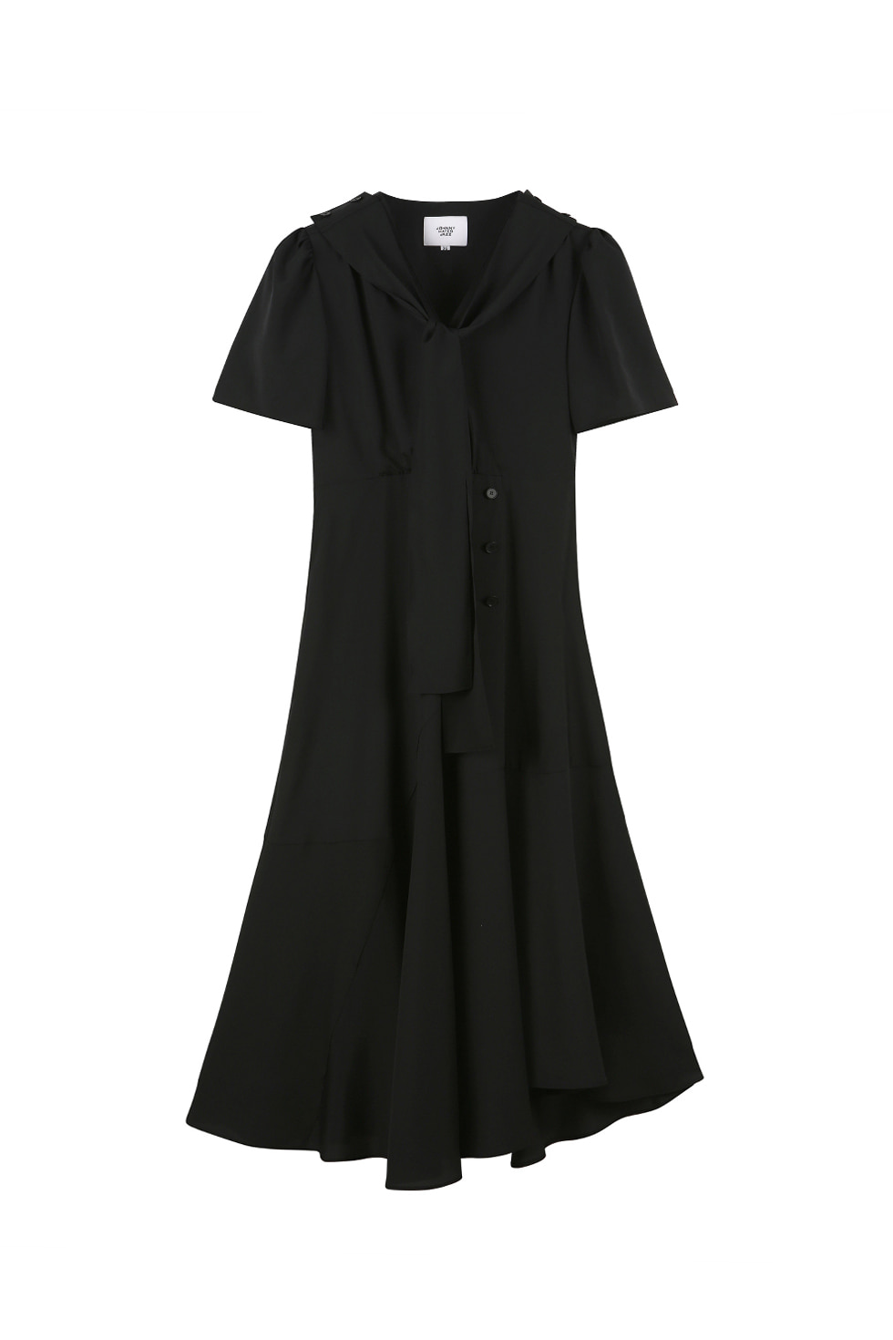 V NECK WRAP DRESS - BLACK