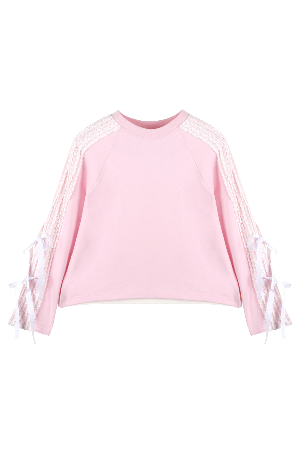 LACE JERSEY PULLOVER - PINK