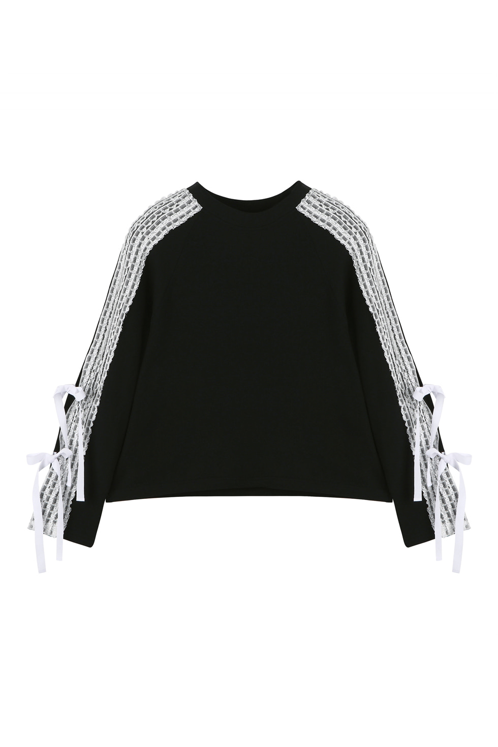 LACE JERSEY PULLOVER - BLACK