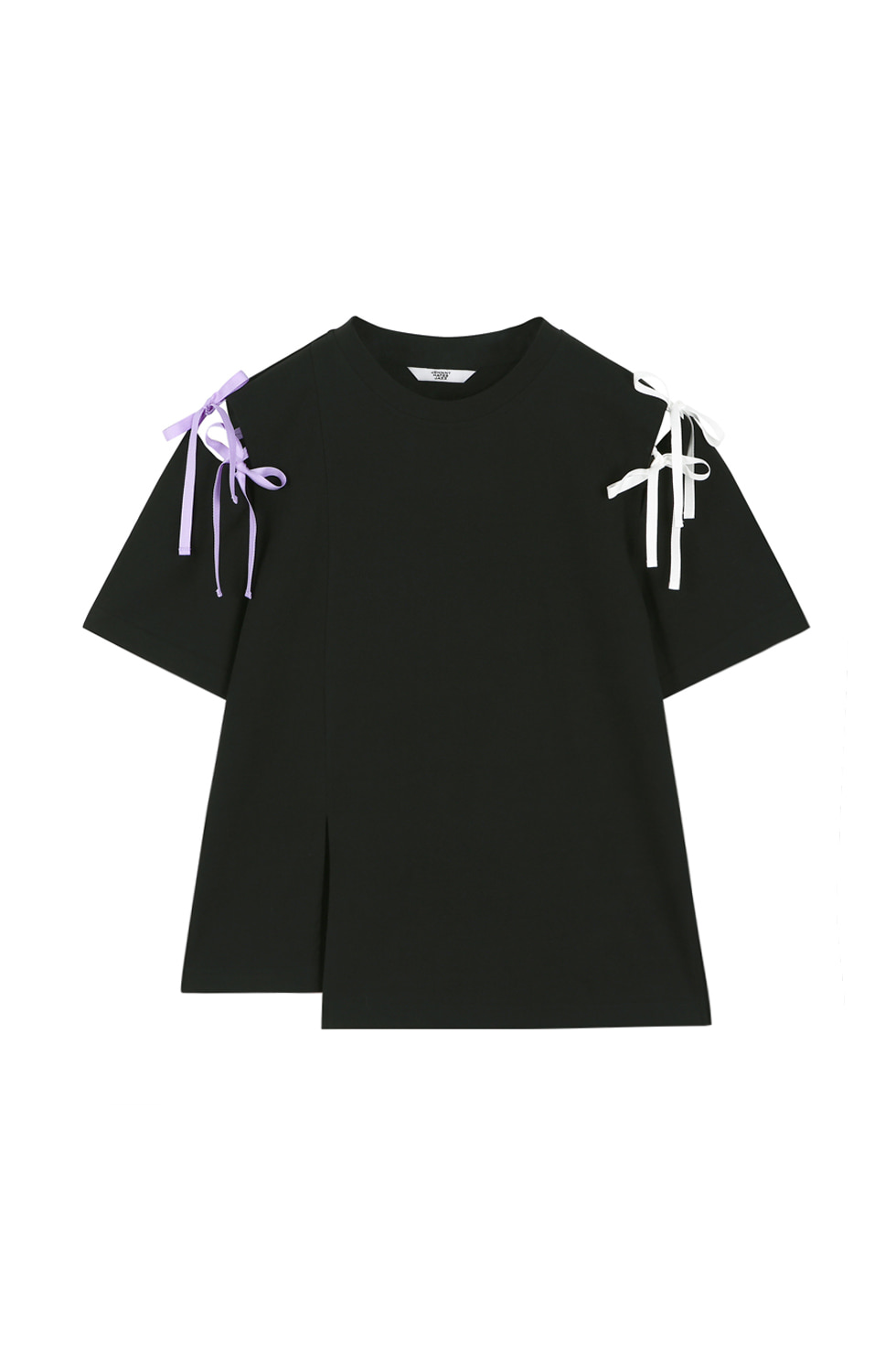 RIBBON TIE T-SHIRTS - BLACK