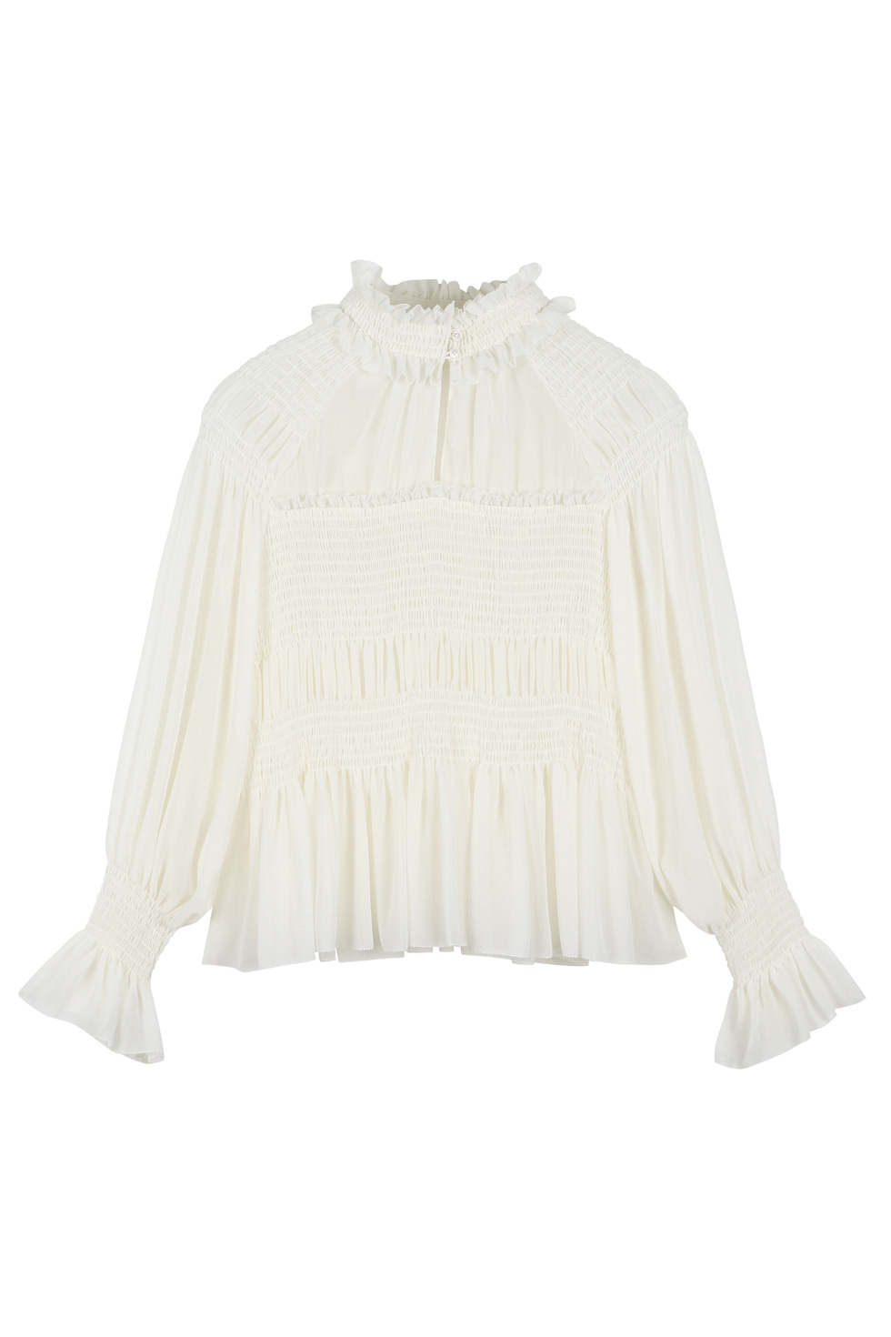 SMOCKING BLOUSE - IVORY