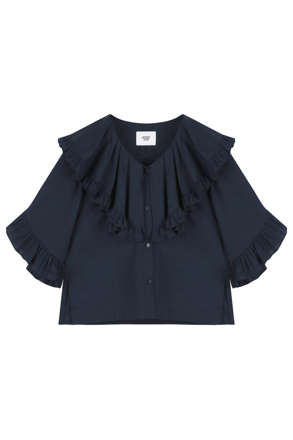 COTTON RUFFLE BLOUSE - NAVY